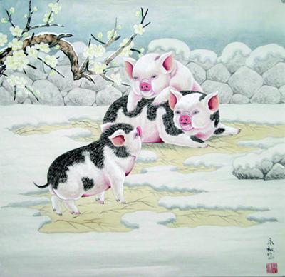 图二:张永权十二生肖画——亥猪 69cm×69cm